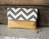 Chevron Clutch Grey Stone/natural with vegan leather trim clutch  --MADE TO ORDER--