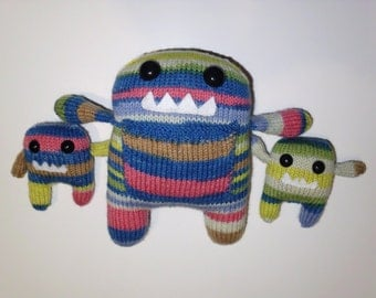 Monster Momma and Twins Hand Knit Stuffed Animals