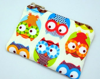 Lovely owls - Zipper pouch / coin purse (padded) (ZS-133)