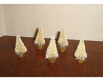 Bottle Brush Ivory Color Trees/ Set of 5 / Flocked/ Minis/ Craft Supplies**