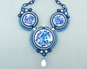 Soutache Gzhel Imitation Necklace, Blue White Polymer Clay Cameo Pendant, OOAK
