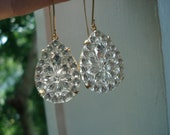 SALE Vintage 1960's Art Deco Faceted Cut Crystal Glass Teardrops Gold Earrings Nature Chapel Windows