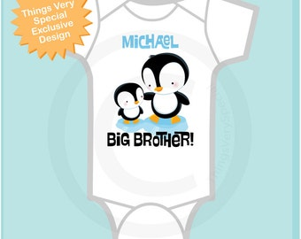 Penguin Big Brother Onesie or Tee Shirt, Personalized with little baby penguin (07202012b5)
