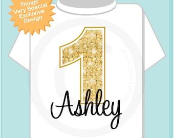 Personalized Children's First 1st Golden Birthday Onesie or Tee Shirt (08312012a)