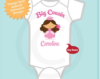 Big Cousin Onesie, Princess Big Cousin Shirt, Personalized with dark brown hair Shirt or Onesie, Big Cousin Shirt for Children (02262014b1)