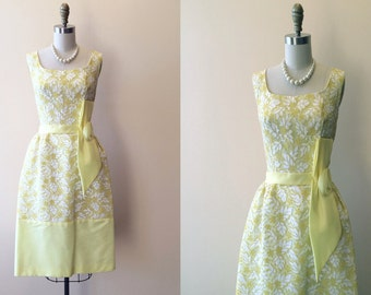 1960s Dress - Vintage 50s 60s Dress - Yellow White Lace Wedding Party Prom Dress S M - Marquee