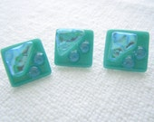 Fused Glass Buttons, Art Button, Iceberg Ahead, turquoise, aqua, metallic, dichroic, blue, sewing button, knitting supplies, square, three