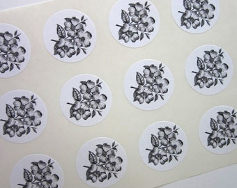 Dogwood Flower Stickers One Inch Round Seals