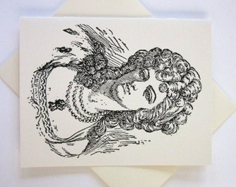 Marie Antionette Cards Set of 10 in White or Light Ivory with Matching Envelopes