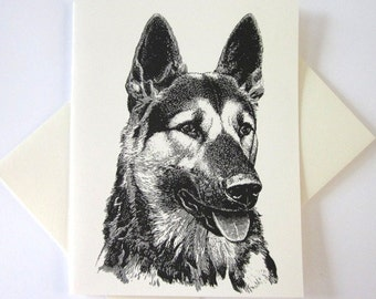 German Shepherd Dog Note Card Set of 10 in White or Light Ivory with Matching Envelopes