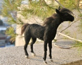 Needle Felted  Wool Animals. Black  horse  soft sculpture. Ready to ship.