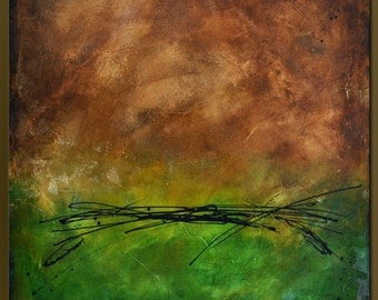 Spanish Moss 4 - 30 x 30 - Abstract Acrylic Painting - Contemporary Wall Art- Green Brown- Large