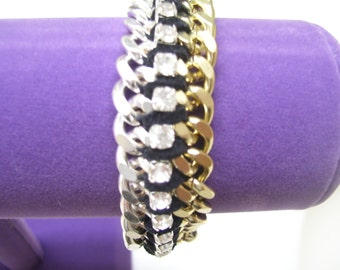 Gold & Silver Double Wrapped Rhinestone Chain Bracelet