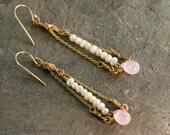 Seed Pearl Earrings, Pink Quartz Formal Earrings, Gold Dangle Earrings, Unique Bridal Jewelry