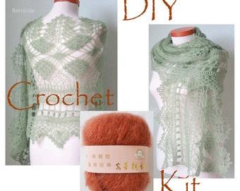 DIY Crochet Kit, Crochet shawl kit, MISITU, Copper, yarn and pattern