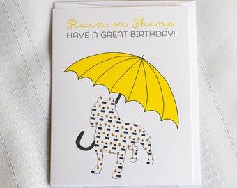 Birthday Pitbull Rain or Shine Greeting Card