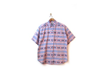 Vintage 80s Oversized Unisex Southwestern Woven Cotton IKAT Button Up Shirt s-xl boho hipster indie retro plus size