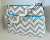 The Monterey Diaper Bag Medium - In Grey Chevron And Turquoise - Adjustable Strap and Elastic Pockets