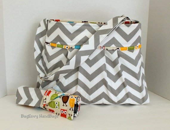 items similar to monterey chevron diaper bag set medium grey chevron and owls or custom. Black Bedroom Furniture Sets. Home Design Ideas