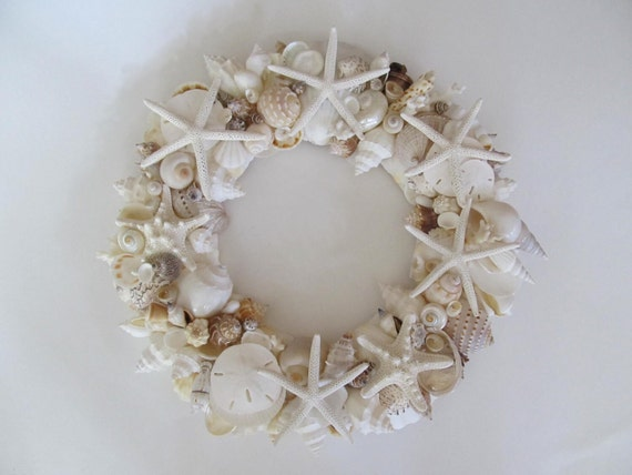 SEASHELL WREATH with natural, white and ivory shells and starfish