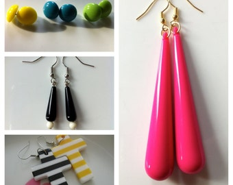 Retro Acrylic Drop  / Retro Crosses / Plastic Studs- Earrings