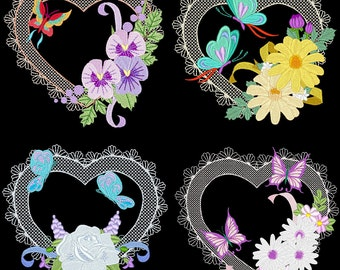 HEARTS A FLUTTER (4inch) - 12 Machine Embroidery Designs Instant Download 4x4 hoop (AzEB)
