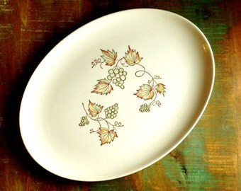 Colorcraft by Taylor Smith Taylor Vintage Vineyard Pattern Made in USA Large Serving Platter
