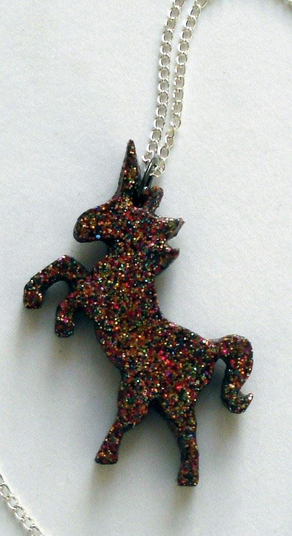 Multi-colored glitter unicorn necklace