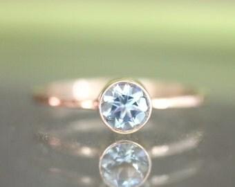 Genuine Aquamarine 14K Gold Ring, Gemstone RIng, Stacking RIng, Engagement Ring - Made To Order