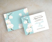 Orchid save the dates, save the date postcard, save the date magnet, destination wedding, light aqua, green blue, Jayda
