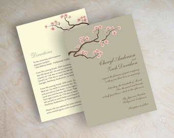 Wedding invitations, cherry blossom, tree branch wedding stationery, taupe, french gray, pink and ivory, free shipping, Thalia