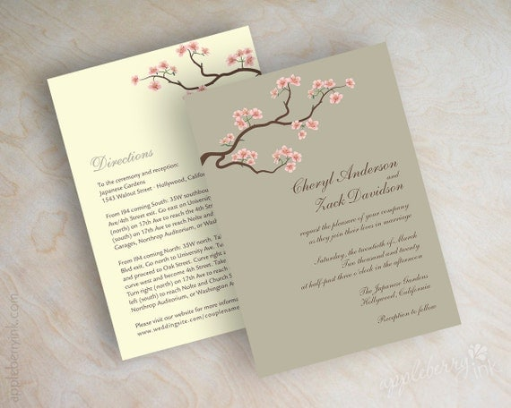 wedding invitations cherry blossom tree branch wedding, Wedding invitations