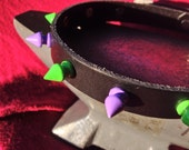 Purple and Green Spiky Leather Collar