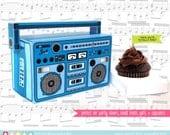 Boom Box cupcake box, party favor box, 40th Birthday, 30th Birthday, Blue Boom Box - Instant download DIY Printable PDF Kit