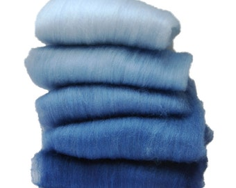 BFL/Silk Navy Ombre Spinning Batts - 5 ounces