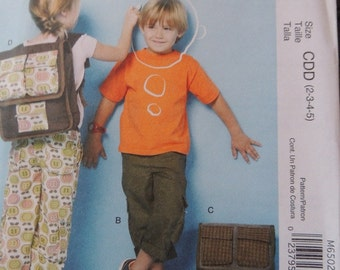 McCalls M6502 Children's Pants and Backpacks in sizes 2-3-4-5