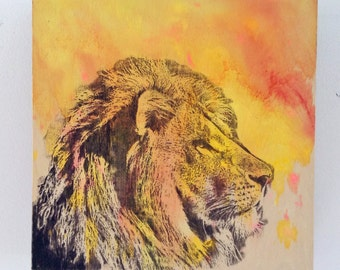Portrait of a Lion Art Original Animal Painting 8x8 in Painting on Wood Wall Art Panel - Great Room Decor For Kids and baby nursery art