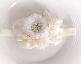 Neutral vintage flowers headband