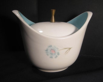 Boutonniere Sugar Bowl with Lid, by Taylor, Smith  Taylor, 1960s vintage china aqua flowers