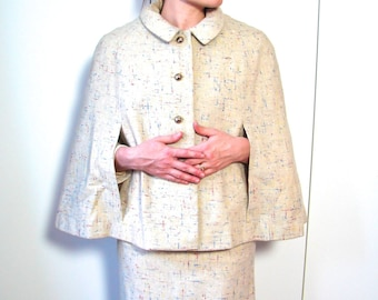Vintage 1950s Cape , 50s Wool Cape with Red Blue and Yellow Fleck - on sale
