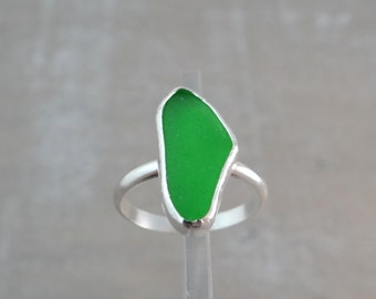 Lime Green Sea Glass Ring set in Sterling Silver size 9