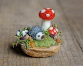 Tiny Hedgehog and Mushrooms, Needle Felted, Walnut Shell Art, Red Toadstools