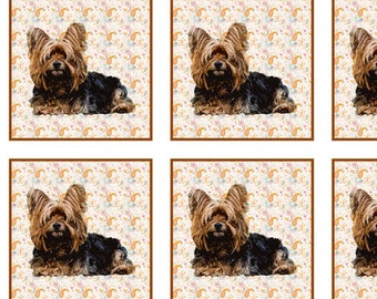 Yorkie Quilt Block cotton fabric