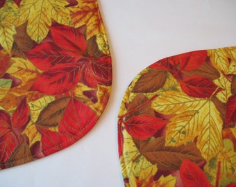 Changing Leaves Placemats Oval Set Golden Yellow and Red Leaves Fall  Placemats Thanksgiving Placemats