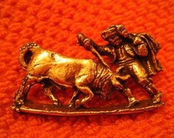 Bullfighter and Bull Brooch Matador Toreador