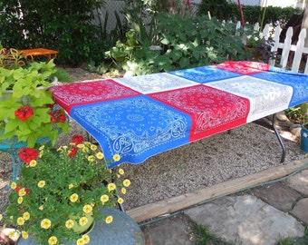 Patriotic Bandana Tablecloth, 4th of July, Memorial Day, Picnic Table