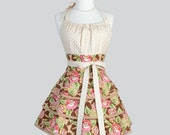 Flirty Chic Apron , Brown Florals and Beige Dots Three Layer Skirt Cute Flirty Sexy Retro Womens Apron