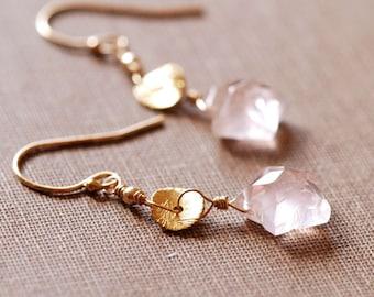 Pink Star Dangle Earrings in 14k Gold Fill, Rose Quartz Drop Earrings, Delicate Spring Jewelry