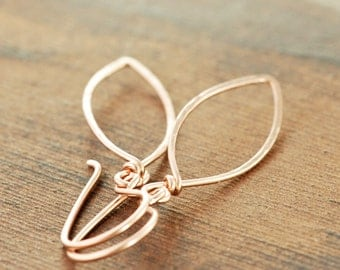 Rose Gold Leaf Earrings, 14k Gold Fill Leaves, Modern Minimal Metal Jewelry, Holiday Earrings