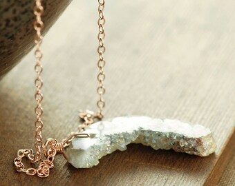 Rose Gold Druzy Necklace, Opalescent Druzy Crystal Slice Pendant Necklace, Modern Rustic Jewelry